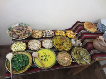 Spread of local Peruvian food as prepared for us by a group of locals from a small village