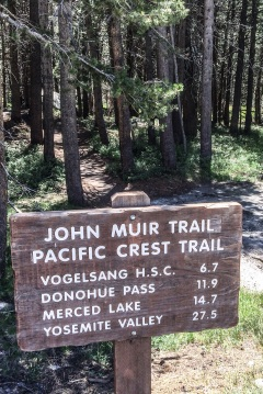 The trek to Vogelsang High Sierra Camp begins near the Tuolumne Meadows backcountry permit station. A brief part of the hike in overlaps with both the John Muir Trail and the mighty Pacific Crest Trail
