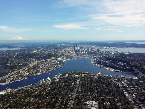 Lake Union is a beautiful freshwater lake entirely within the Seattle city limits.