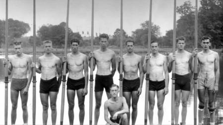 The 1936 United States 8 man Olympic rowing team. They ended their 4 year University of Washington collegiate career undefeated as national champions.
